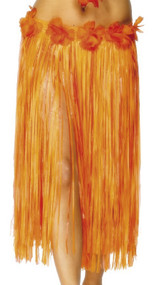 Ladies Orange Hawaiian Grass Skirt