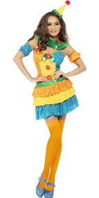 Ladies Fever Colourful Clown Fancy Dress Costume