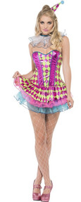 Ladies Fever Neon Harlequin Clown Fancy Dress Costume