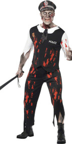 Mens Zombie Policeman Fancy Dress Costume