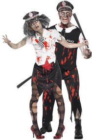 Couples Zombie Police Fancy Dress Costumes