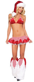 Ladies Christmas Stripe Fancy Dress Costume