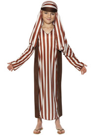 Boys Brown Striped Shepherd Fancy Dress Costume