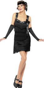 Ladies Black Fever Foxy Flapper Fancy Dress Costume