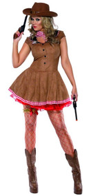 Ladies Fever Cowgirl Fancy Dress Costume