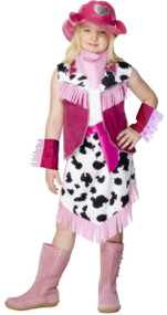 Girls Pink Cowgirl Fancy Dress Costume
