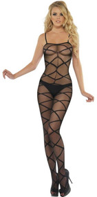 Ladies Black Criss Cross Bodystocking