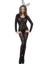 Ladies Black Lace Long Sleeved Bodysuit