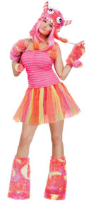 Ladies Pink Monster Fancy Dress Costume