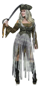 Ladies Ghost Pirate Fancy Dress Costume