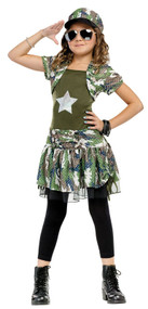 Girls Army Brat Fancy Dress Costume