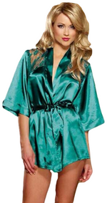 Ladies Green Satin Lace Back Dressing Gown