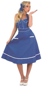 Ladies Blue 1950s Fancy Dress Costume