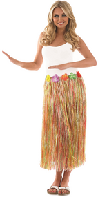 Ladies Multi Coloured Hawaiian Grass Skirt