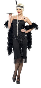 Ladies Sultry Black Flapper Fancy Dress Costume
