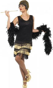 Ladies Black/Gold Beaded Flapper Fancy Dress Costume