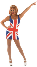 Ladies Union Jack Fancy Dress Dress Costume & Wig