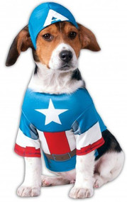 Dog Captain America Fancy Dress Costume