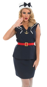 Ladies 1940s Pin Up Sailor Fancy Dress Costume