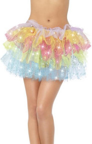 Ladies Sparkle Rainbow Fancy Dress Tutu Skirt