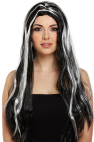 Ladies Black Grey Streaked Witch Wig