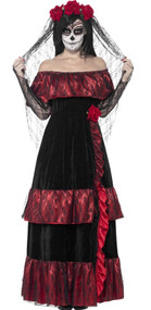 Ladies Day of the Dead Bride Fancy Dress Costume