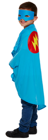 Boys Blue Superhero Fancy Dress Costume