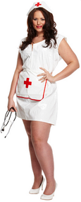 Ladies Plus Size Sexy Nurse Fancy Dress Costume