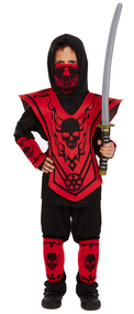 Boys Black/Red Ninja Fancy Dress Costume