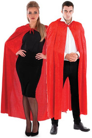 Adult Red Velour Hooded Cape