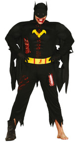 Mens Black Zombie Superhero Fancy Dress Costume