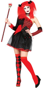 Ladies Red Black Harlequin Fancy Dress Costume