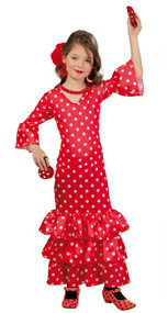 Girls Flamenco Dancer Fancy Dress Costume