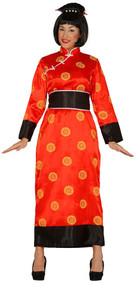 Ladies Red Chinese Fancy Dress Costume