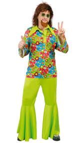 Mens Green Hippy Fancy Dress Costume