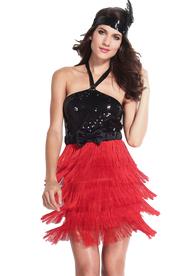 Ladies Black/Red Flapper Fancy Dress Costume