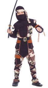Boys Camouflage Ninja Fancy Dress Costume