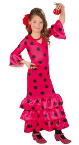 Girls Pink Flamenco Dancer Fancy Dress Costume