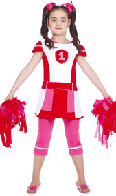 Girls Pink Cheerleader Fancy Dress Costume