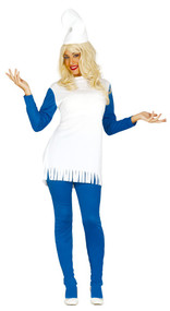 Ladies Blue Gnome Fancy Dress Costume