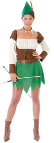 Ladies Medieval Archer Fancy Dress Costume