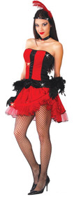 Ladies Red Burlesque Dancer Fancy Dress Costume