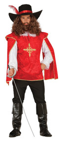 Mens Red Musketeer Fancy Dress Costume