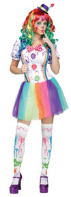 Ladies Rainbow Clown Fancy Dress Costume