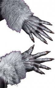 Adult Grey Werewolf Fancy Dress Gloves
