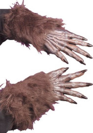 Adult Brown Werewolf Fancy Dress Gloves