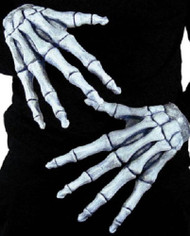 Adult Ghostly Bones Fancy Dress Gloves