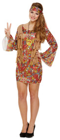 Ladies Peace Out Hippy Fancy Dress Costume