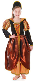 Girls Bronze Tudor Queen Fancy Dress Costume