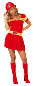 Ladies Sexy Red Firefighter Fancy Dress Costume